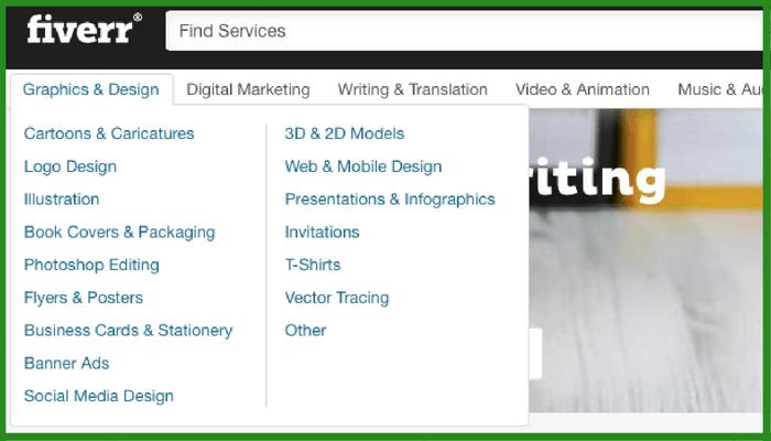 find fiverr services through categories